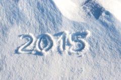 2015 geschreven in sneeuw Royalty-vrije Stock Afbeelding