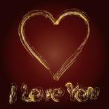 Geschreven verklaring van liefde op bruine achtergrond, Stock Foto's