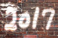 2017 geschrieben an auf Backsteinmauer Stockbild