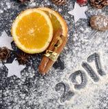 2017 geschrieben auf das Mehl Stockfoto