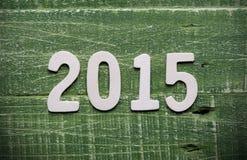 2015 geschrieben auf Holz Stockfotografie