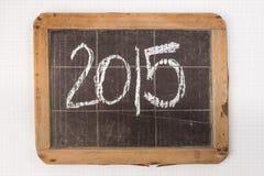 2015 geschrieben auf Weinlese slateboard Lizenzfreie Stockfotografie