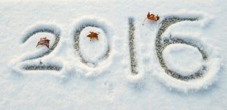 Geschrieben in den Schnee von 2016 Lizenzfreie Stockfotografie