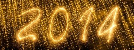 2014 geschrieben in goldene funkelnde Buchstaben Lizenzfreie Stockfotos