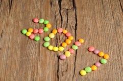 2017 geschrieben mit bunten Süßigkeiten Stockbilder