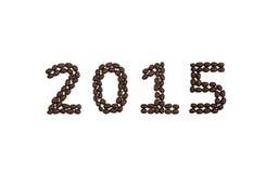'2015' geschrieben mit Kaffeebohnen Stockfotografie