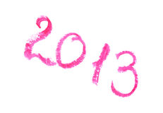 2013 geschrieben mit Lippenstift Lizenzfreies Stockbild