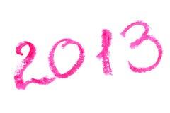 2013 geschrieben mit Lippenstift Stockfotos