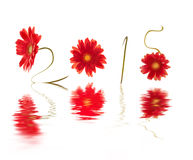 2015, geschrieben mit roten Gerberasblumenstämmen Lizenzfreies Stockbild