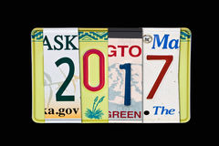 2017 geschrieben mit US-Kfz-Kennzeichen, schwarzer Hintergrund Stockbild