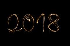 2018 geschrieben mit Wunderkerze Stockfoto