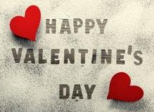 Geschrieben in Puderzucker: Glücklicher Valentinstag Lizenzfreie Stockbilder