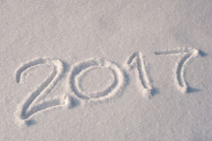 2017 geschrieben in Schnee Stockfotografie
