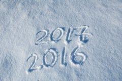 2017 geschrieben in Schneespur 06 Stockbild