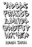 Geschriebene Graffitiguß 3D- Hand - Vector Alphabet Stock Abbildung
