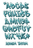 Geschriebene Graffitiguß 3D- Hand - Vector Alphabet Stockfotografie