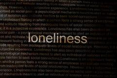 Geschriebene Text Einsamkeit auf Papier Lizenzfreie Stockbilder