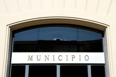 Geschriebenes italienisches RATHAUS in der italienischen Stadt Stockbilder
