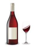 Geschudde fles en glas wijn. Vector Illustratie