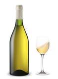 Geschudde fles en glas wijn. Royalty-vrije Illustratie