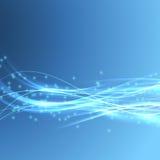 Geschwindigkeit der hellen blaue moderne Bandbreite Swoosh-Welle Stockfotos