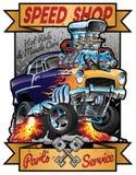 Geschwindigkeits-Geschäft heiße Rod Muscle Car Parts und Service-Weinlese-Garagen-Zeichen-Vektor-Illustration stockfotos