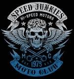 Geschwindigkeits-Junkie-Motorrad-Weinlese-Entwurf vektor abbildung