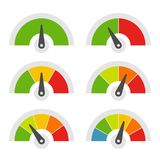 Geschwindigkeits-Meter-Ikonen eingestellt auf weißen Hintergrund Vektor Stockfotografie