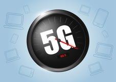 Geschwindigkeitskonzept des drahtlosen Netzwerks, Entwicklung des Geschwindigkeitsmessers 5G Realistische vektorabbildung vektor abbildung