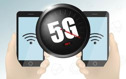 Geschwindigkeitskonzept des drahtlosen Netzwerks, Entwicklung des Geschwindigkeitsmessers 5G Realistische vektorabbildung lizenzfreie abbildung