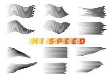 Geschwindigkeitslinien lokalisierter Satz stock abbildung