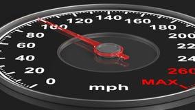 Geschwindigkeitsmesser auf schwarzem Hintergrund 3d übertragen stock abbildung