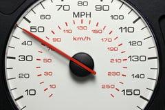 Geschwindigkeitsmesser bei 45 MPH Stockfoto