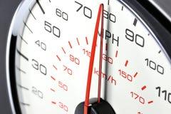 Geschwindigkeitsmesser bei 80 MPH Stockfotografie