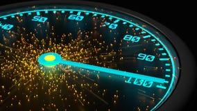 Geschwindigkeitsmesser in den blauen ausstrahlenden Neonfunken Lizenzfreie Stockfotografie
