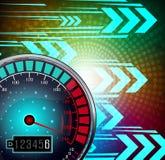 Geschwindigkeitsmesser mit glühendem Hintergrund des Effektes Stockbild