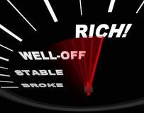 Geschwindigkeitsmesser mit Neelde auf Reichen Stockfoto