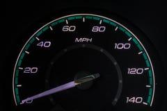 Geschwindigkeitsmesser an 0mph stockfoto