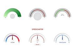 Geschwindigkeitsmesser, Sensor, Indikator, Thermometervektorillustrationsarmaturenbrettplattenmaßzeichen-Skalagas lizenzfreie abbildung