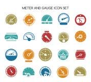 Geschwindigkeitsmessgerätikonen Vektorkreisbarometer- oder -meterzeichen lizenzfreie abbildung