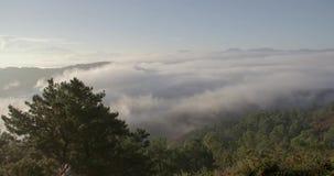 Gesehen dem Nebel in der Spitze eines Berges stock footage