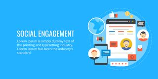 Gesellschaftliche Verpflichtung - influencer Marketing - Social Networking Flache Designvektorfahne Stockbilder