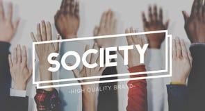 Gesellschafts-Verbindungs-Verschiedenartigkeits-Gemeinschaftsmenschliches Handkonzept stockfoto