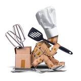 Gesessenes Denken des Chefs Charakter mit Küchenwerkzeugen Stockbilder