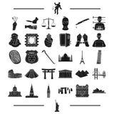 Gesetz, Bank, Polizei und andere Netzikone in der schwarzen Art Reise, Geschichte, Rest, Ikonen in der Satzsammlung Lizenzfreies Stockfoto