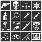 Gesetz, Ordnung, Polizei und Verbrechenikonen Stockfoto