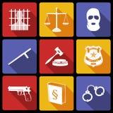 Gesetz und Gerechtigkeit Icons Flat Stockfoto