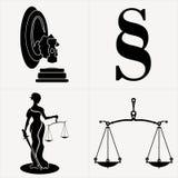 Gesetz-in Verbindung stehende Symbole Stockfoto