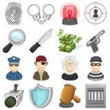 Gesetzes-, Gerechtigkeits-u. Verbrechen-Ikonen - Illustration Lizenzfreie Stockfotografie