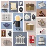 Gesetzes-, legale und Gerechtigkeitsikonen in der flachen Art mit langem Schatten Lizenzfreie Stockfotografie